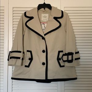 Kate Spade Short Trench Coat w/ Contrasting Trim